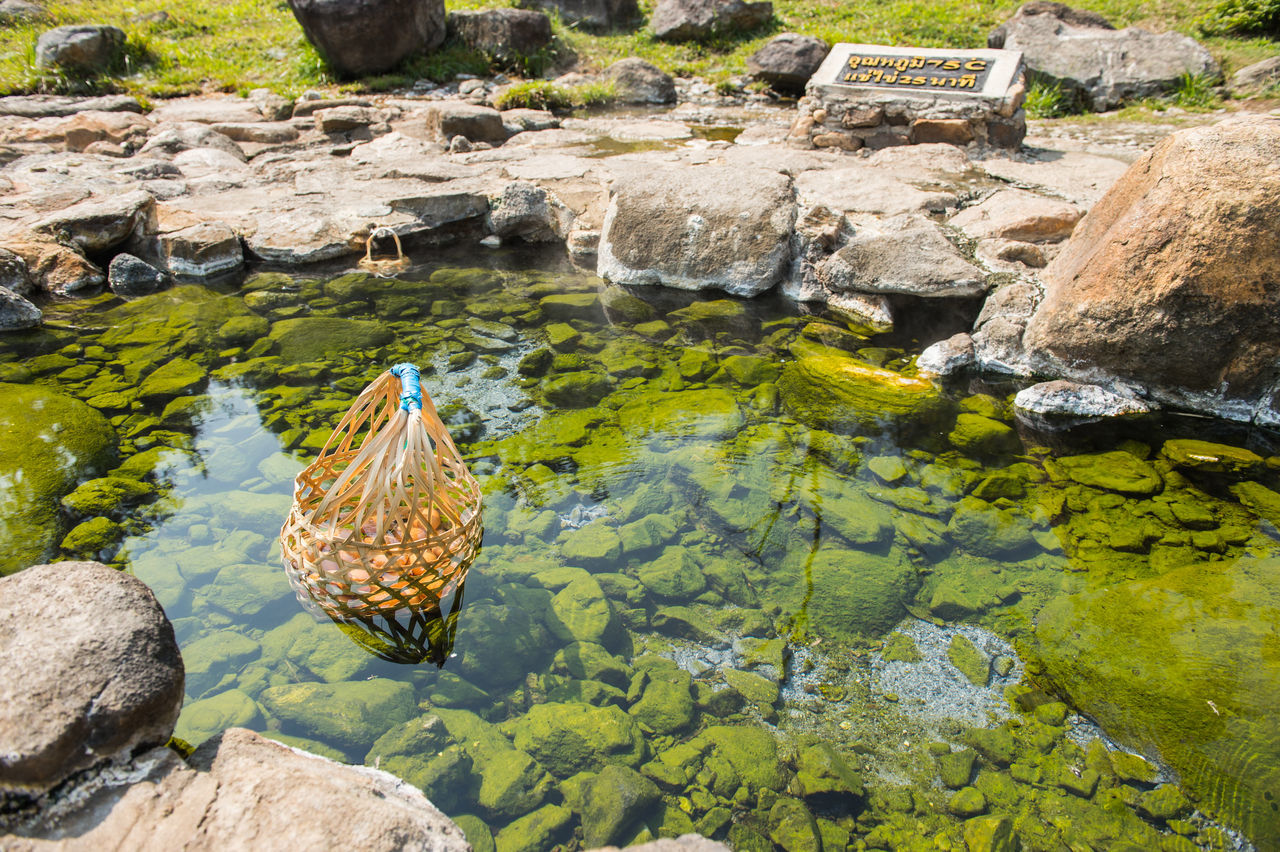 Boil egg in hot springs Basket Beauty In Nature Day Egg Food Green Ground Group Of Objects Healthy Eating Healthy Food High Angle View Hot Spring Natural Nature No People Object Onsen Onsen Egg Outdoors Transparent Travel Water