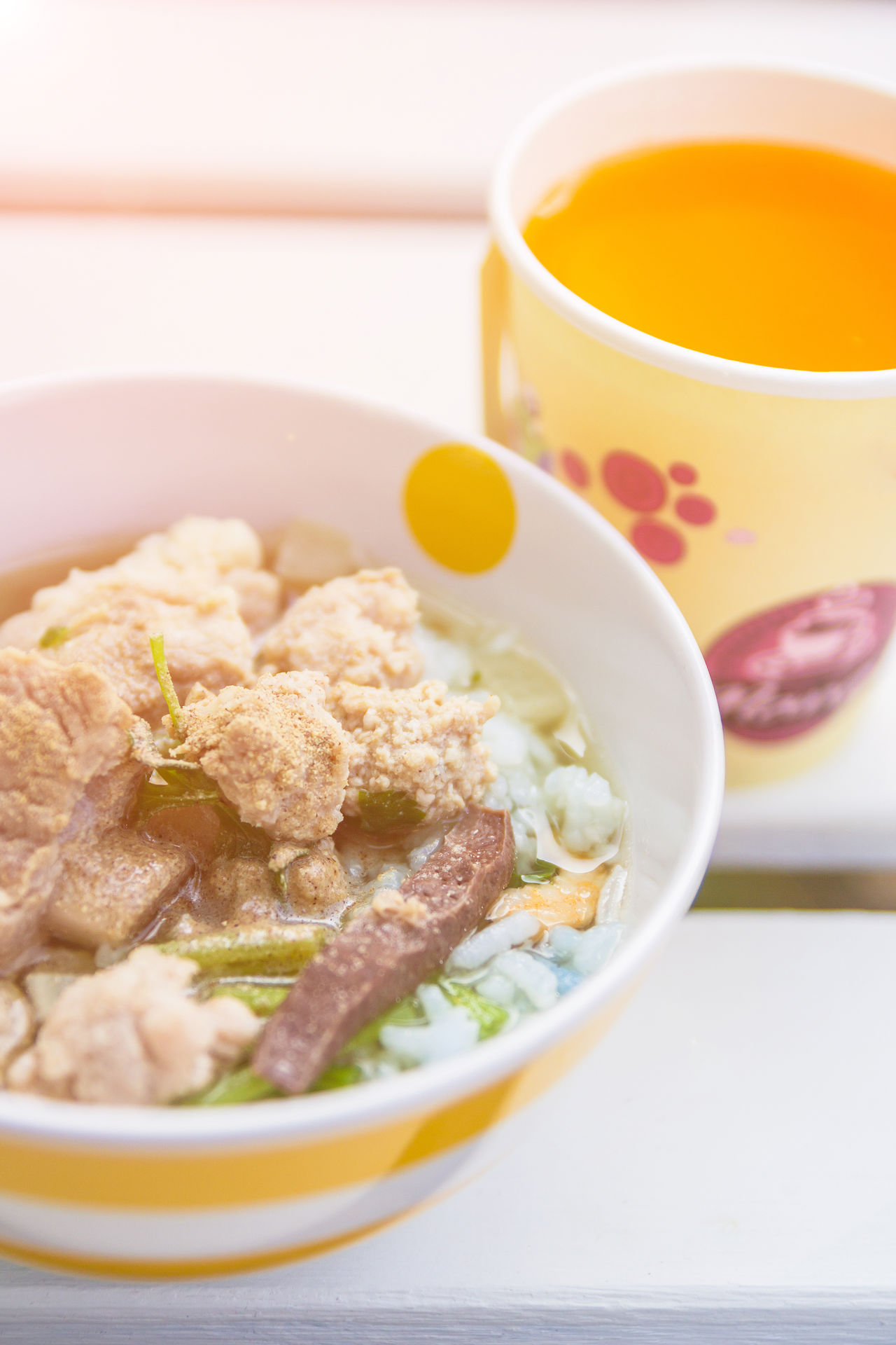 Asian Food Beverage Bowl Breakfast Chinese Food Close-up Congee Drink Food Food And Drink Glass Healthy Eating Homemade Meal Meal Orange Juice  Pork Porridge Ready-to-eat Refreshment Rice Serving Size Sick Soup Thai Food