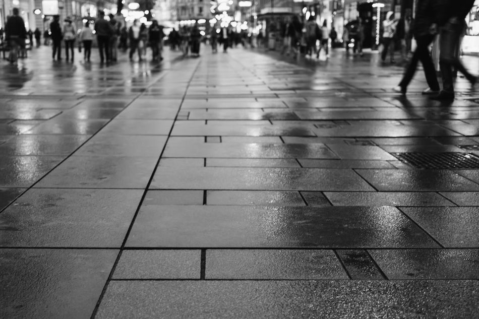 Downtown pedestrian area with rain wet ground Adult Anonymous Austria Blackandwhite Day Downtown Human Body Part Large Group Of People Outdoors Pedestrian Walkway People Rain Rainy Season Shopping Street Vienna VSCO Welcome To Black Wet