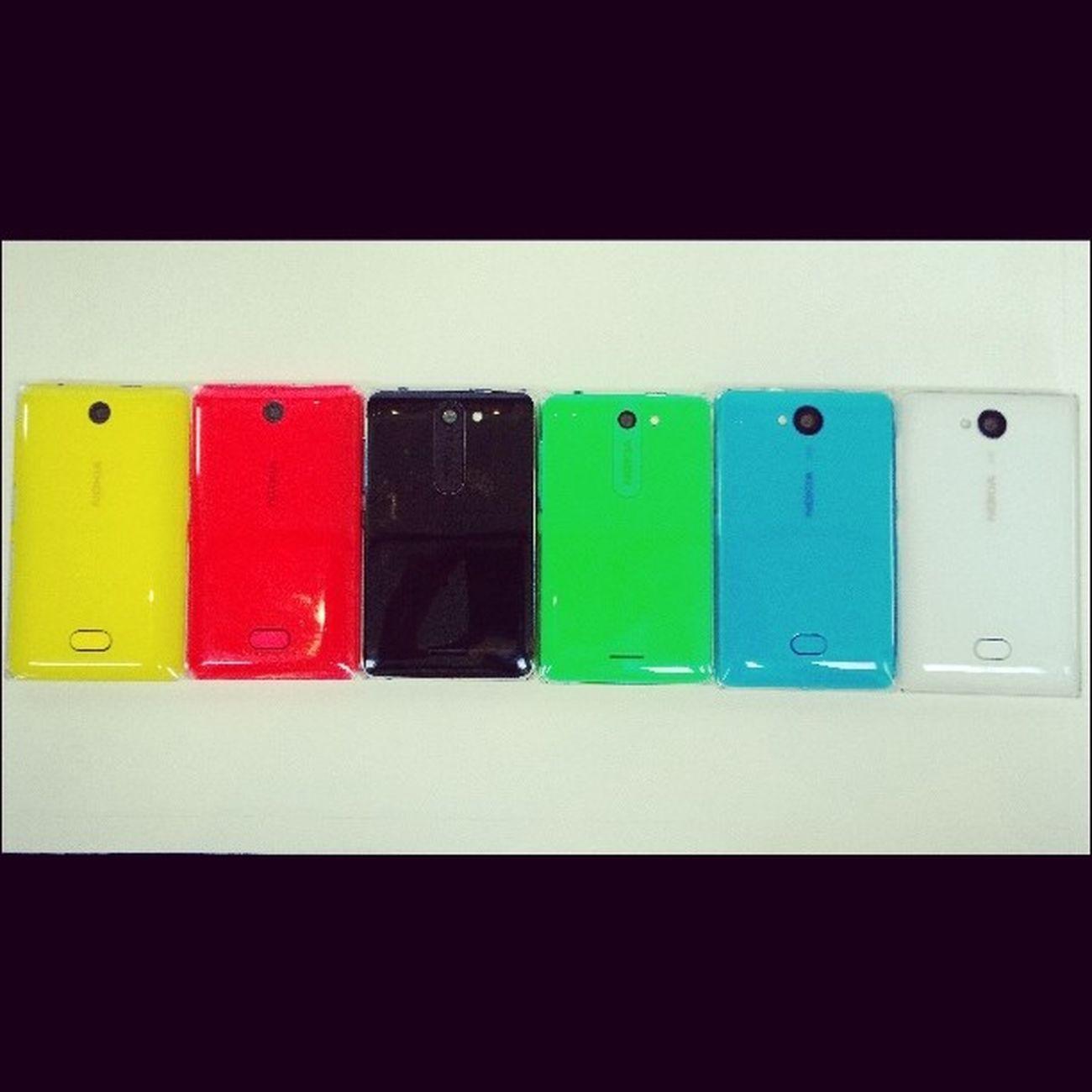 Nokia  Asha500 - желтая и красная, Nokia  Asha502 - черная и зеленая, Nokia Asha503 - голубая и белая. nokiaworld nokiaworldkz