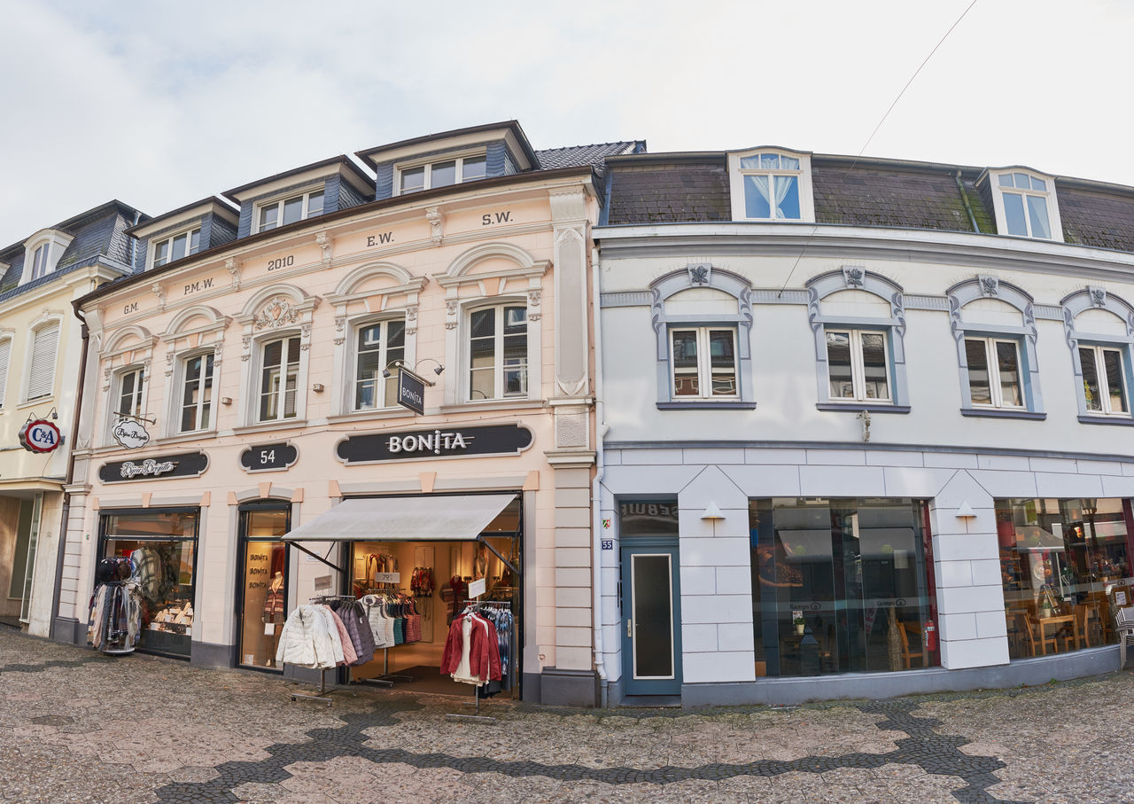 KEMPEN, GERMANY - OCTOBER 26, 2016: Historic facades make the charme of the old town. Atmospheric Mood Christanity Colorful Downtown Germany Heritage High Resolution Historic City History Light Love Market Medieval Outdoors People Relaxing Shopping Travel Destination Urban