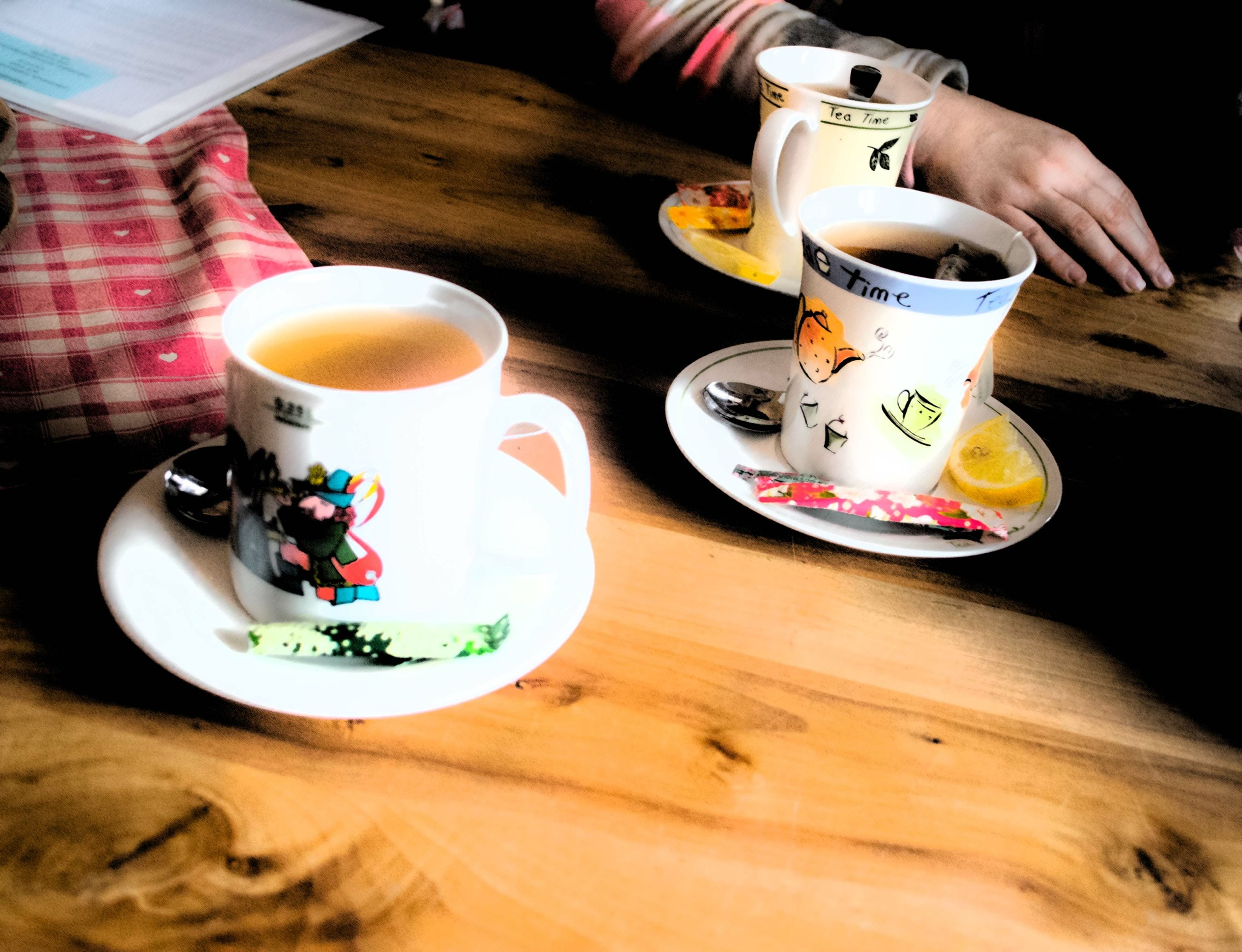 indoors, food and drink, drink, table, coffee cup, refreshment, coffee - drink, freshness, saucer, cup, coffee, still life, spoon, high angle view, breakfast, food, drinking glass, tea cup, plate, tea - hot drink