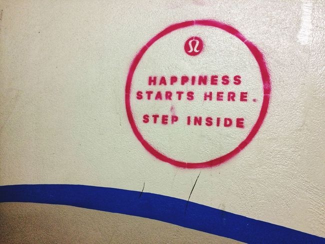 Happiness here and now Happy Be Happy Message Graffiti Writing On The Wall Happiness Red Text Textured  Communication Paper Close-up Indoors