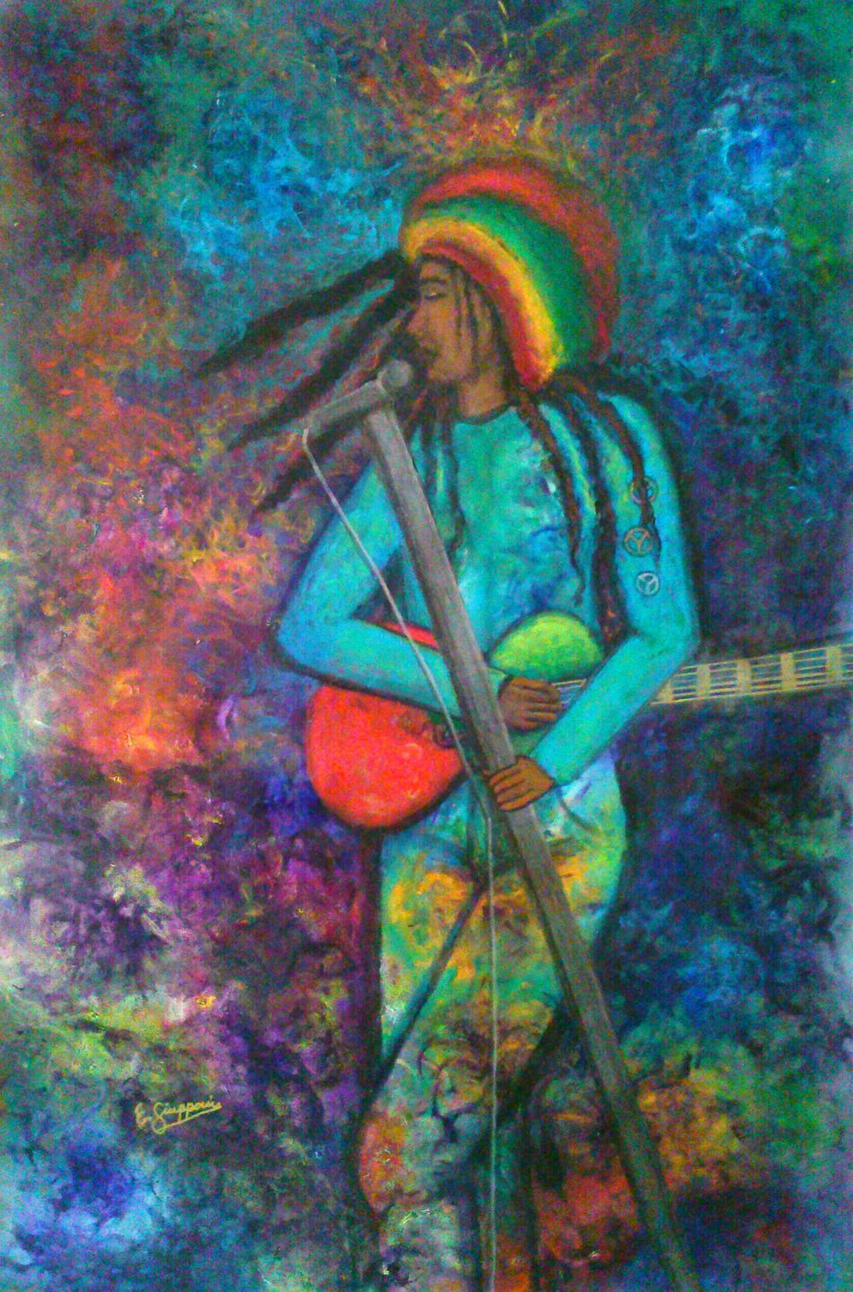 Sweet Bob Marley, Art original oil painting by E. Giupponi Filippa K Asks: What Inspires You? Starbuck At Eden Roc Check This Out