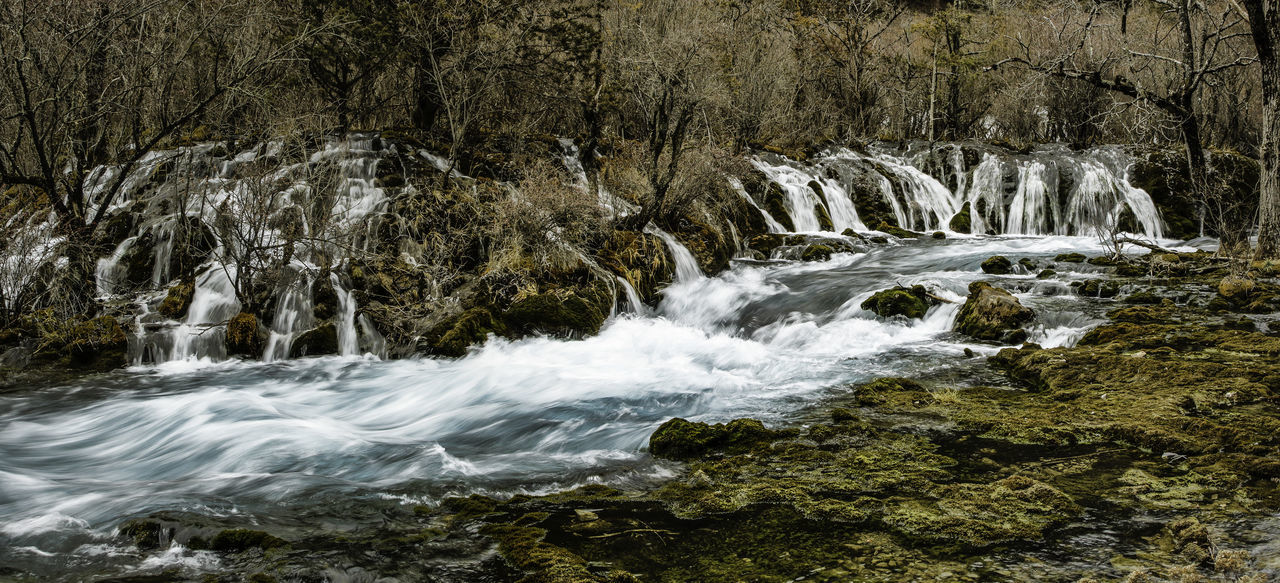 Adventure Beauty China Clean Clear Cold Environment Flowing Jiuzhaigou Motion Nature Outdoors Photography Rocks Sichuan Stream Tourism Tourist Tranquility Travel Tree View Water Waterfall Waterfalls