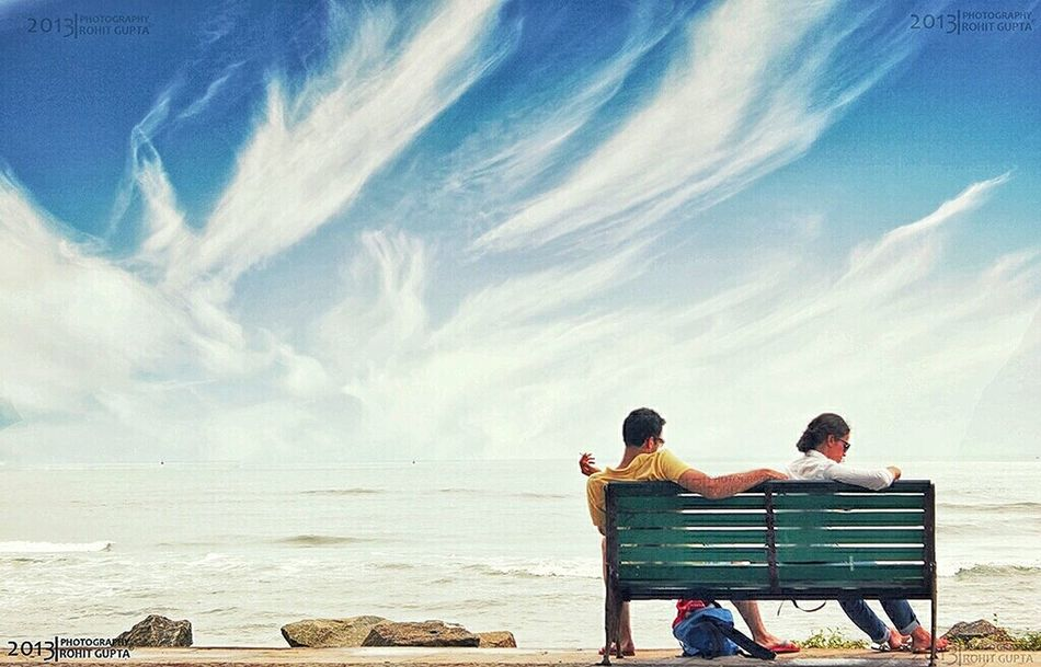 Moment of Peace Beach Beauty Bonding Casual Clothing Contemplation Contest Horizon Over Water Landscape Life Love Mypointofview Outdoors People Photo Photography Pic Rear View Relaxation Sea Sitting Sky Togetherness Traveling Two People Vacations