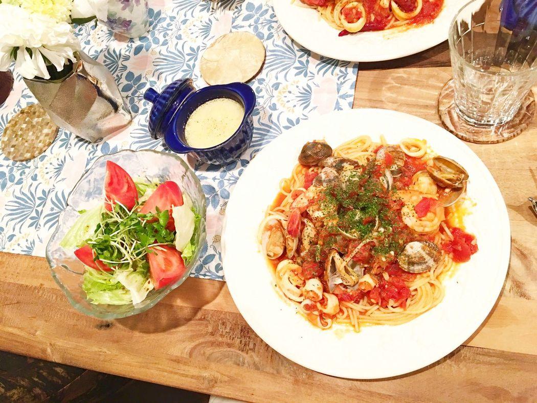 Today's Dinner 今日は母が東京に来てくれました❤️ ペスカトーレ サツマイモのポタージュ バルサミコ酢サラダ Pescatore Sweetpotato Potage Salad Balsamic Vinegar Ready-to-eat Healthy Eating Indoors  Foodporn Food Porn SoDelicious