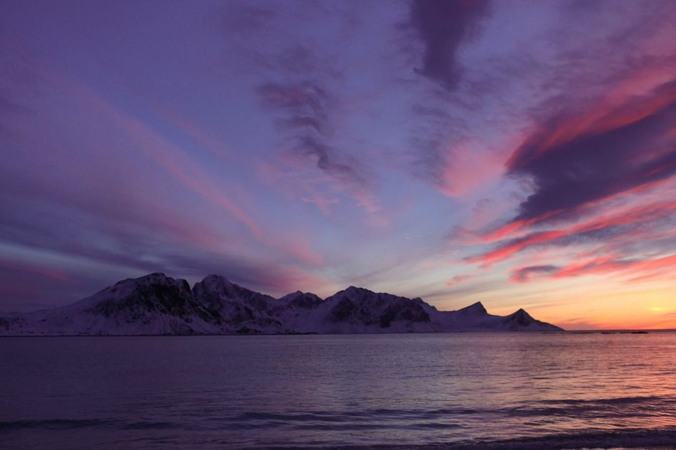 Sunset_collection Sky Scenics Tranquil Scene Water Nature Beauty In Nature Tranquility Sea Cloud - Sky Mountain Waterfront No People Outdoors Day Lofoten Islands Winter Beach Norway Arctic