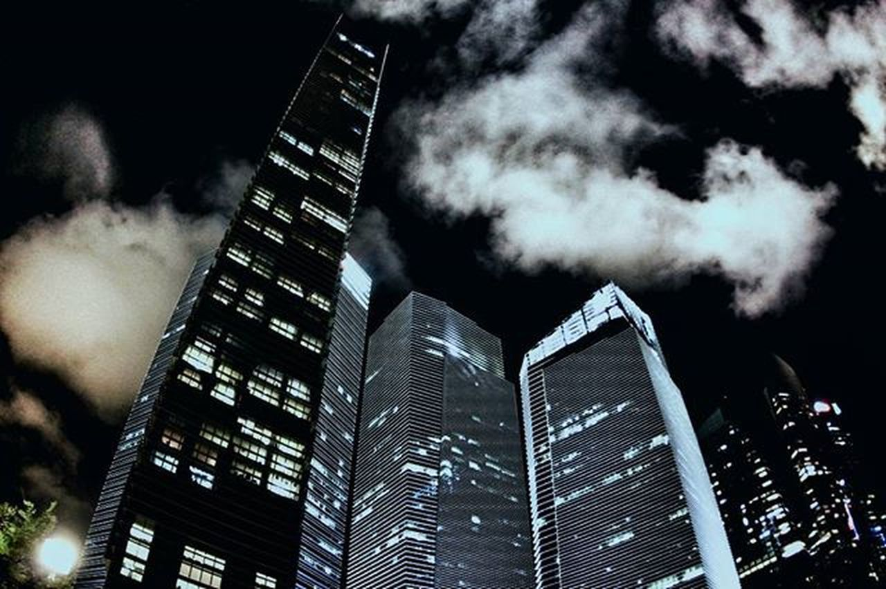 skyscraper, tall - high, architecture, building exterior, night, low angle view, modern, sky, built structure, no people, city, outdoors, illuminated, futuristic, nature, office park