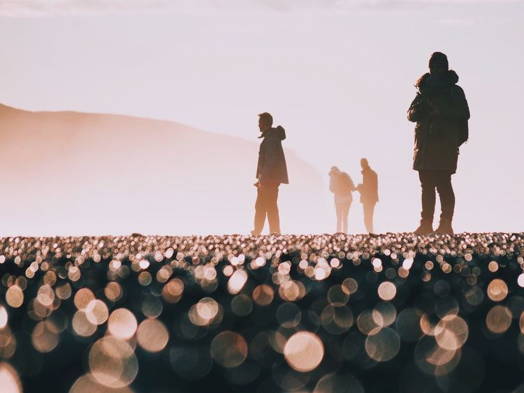 Focus Object Focus Iceland Beach Black Sand Beach Sunset Light Fog People Minimalism Landscape Nature Bokeh Audience Success Standing Men Women Watching The Week On EyeEm Editor's Picks