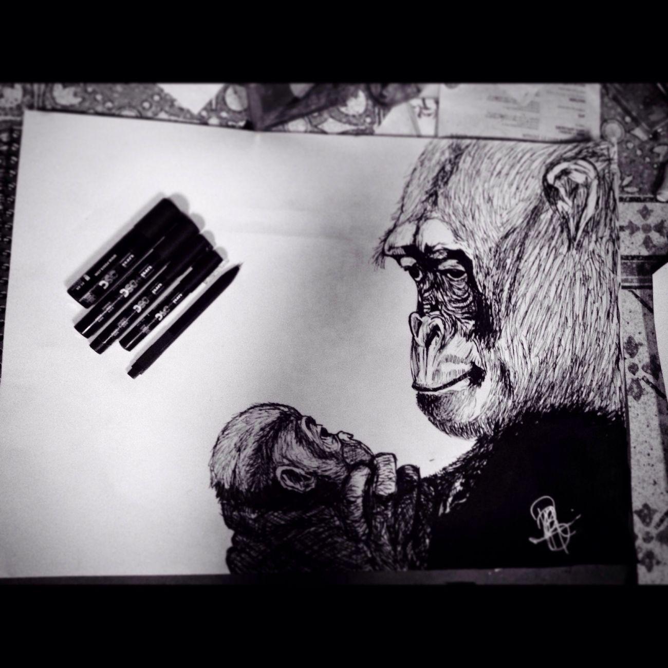 Art, Drawing, Creativity Drawings Art Animals Monkeys French Girl Hello World Enjoying Life Blackandwhite Beautifull