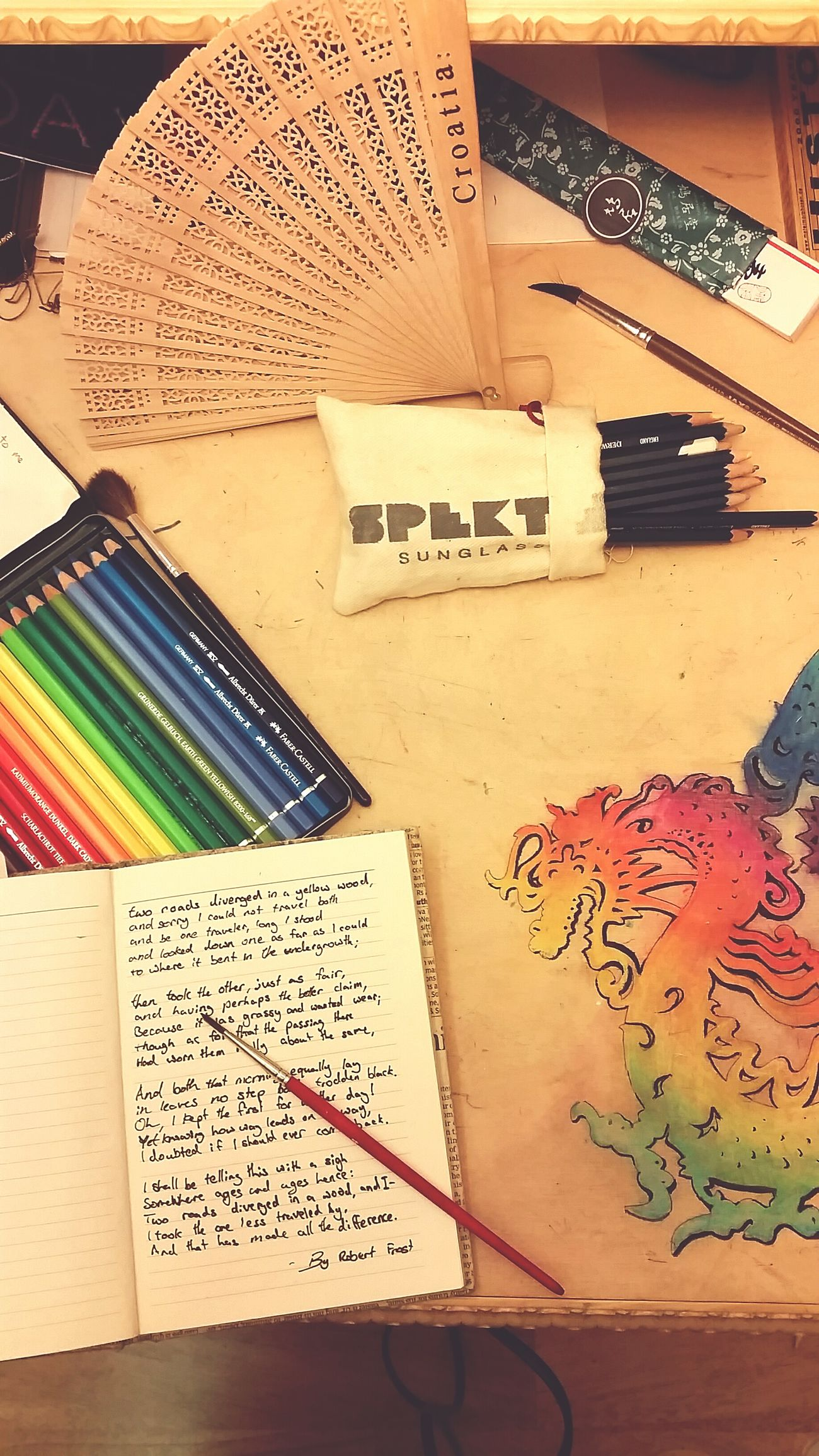 Desks From Above Mydesk Art, Drawing, Creativity The Road Not Taken By Robert Frost First Eyeem Photo