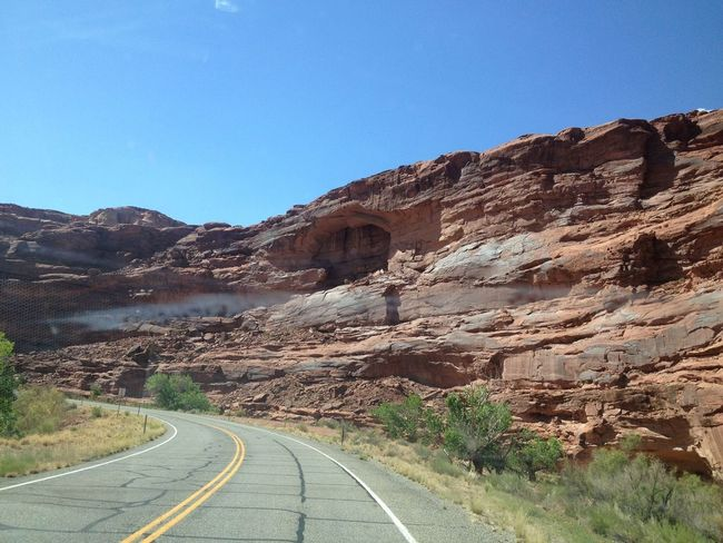 Blue Capitol Reef National Park Country Road Day Diminishing Perspective Empty Empty Road Landscape Leading Long Mountain Narrow Nature No People Outdoors Plant Road Rock Formation Sky Sunlight The Way Forward Tranquil Scene Tranquility Utah Vanishing Point