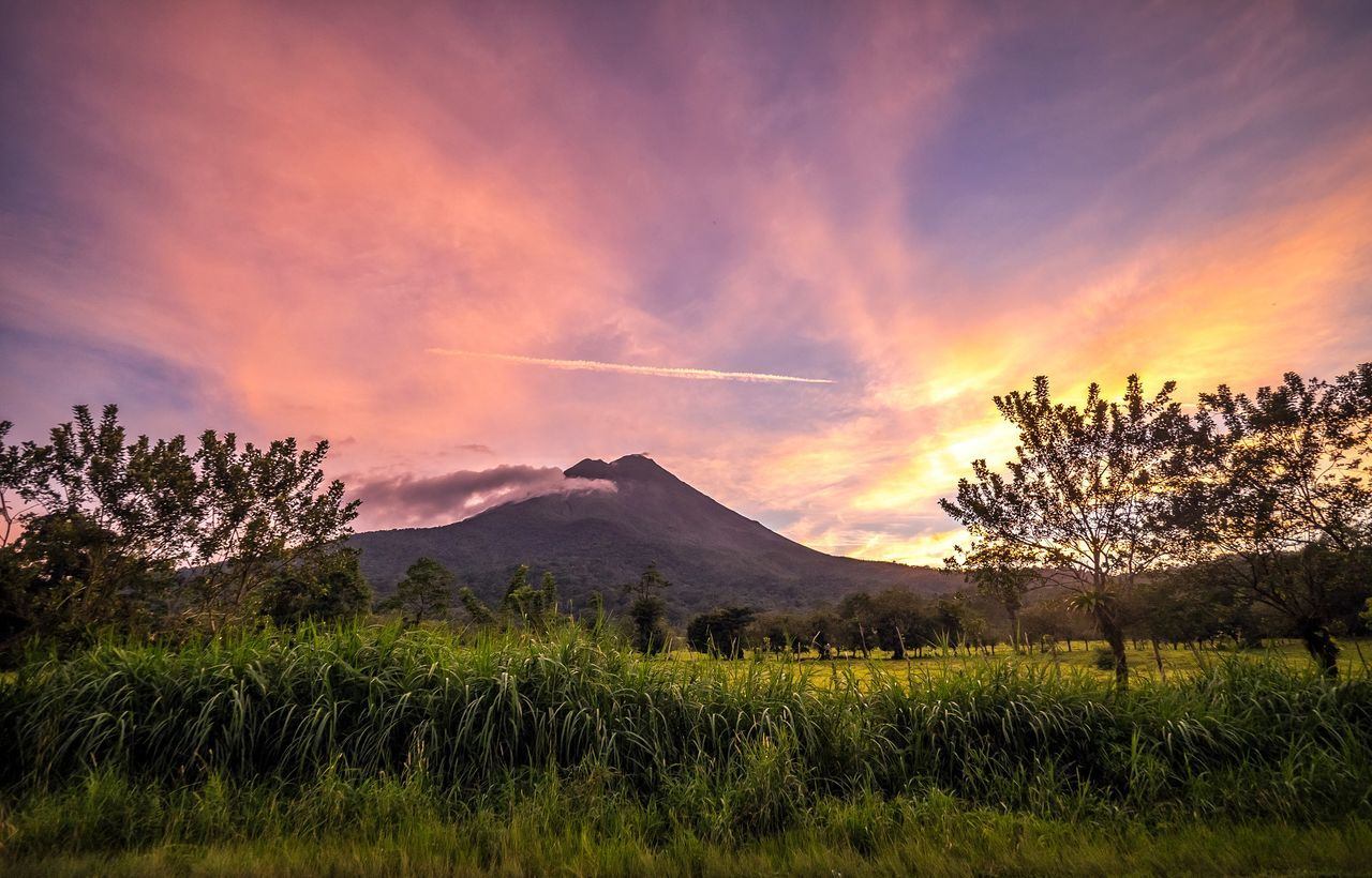 Nature Sunset Mountain Outdoors Landscape Scenics Volcano Arenal  Arenal Volcano Costa Rica Sunrise Sunlight Color Palette Rainforest Awe Ecosystem  Ecotourism Day