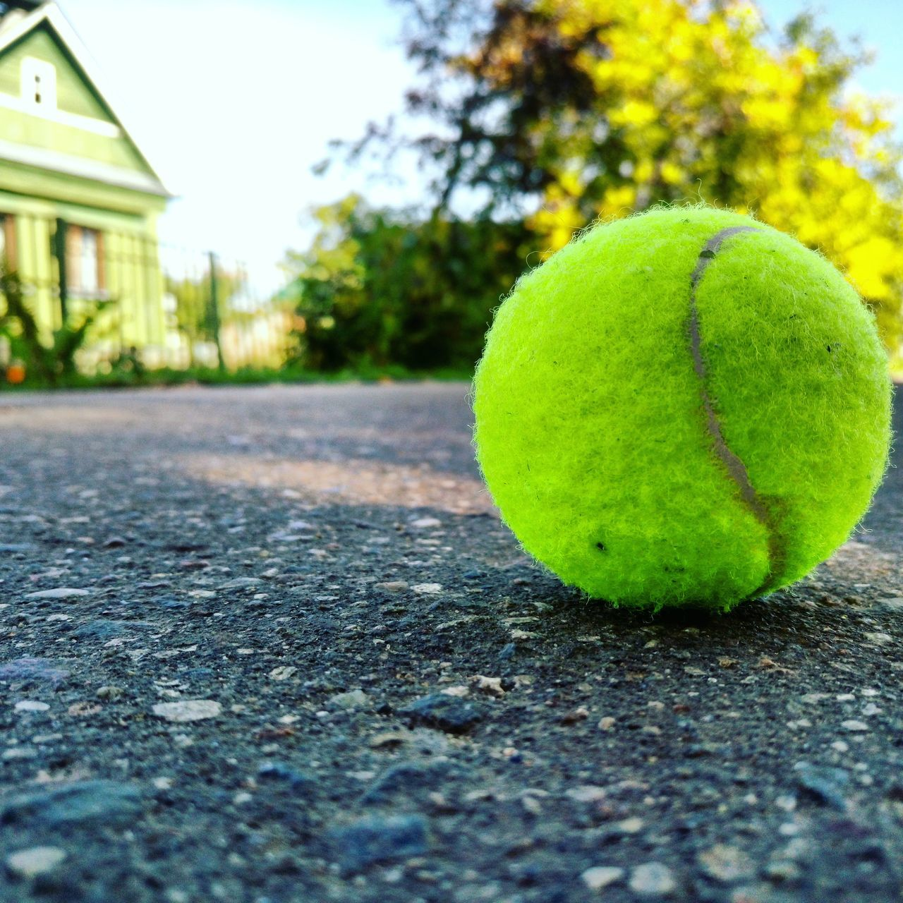tennis ball, day, focus on foreground, close-up, outdoors, no people, tennis, ball, sport, court, sky