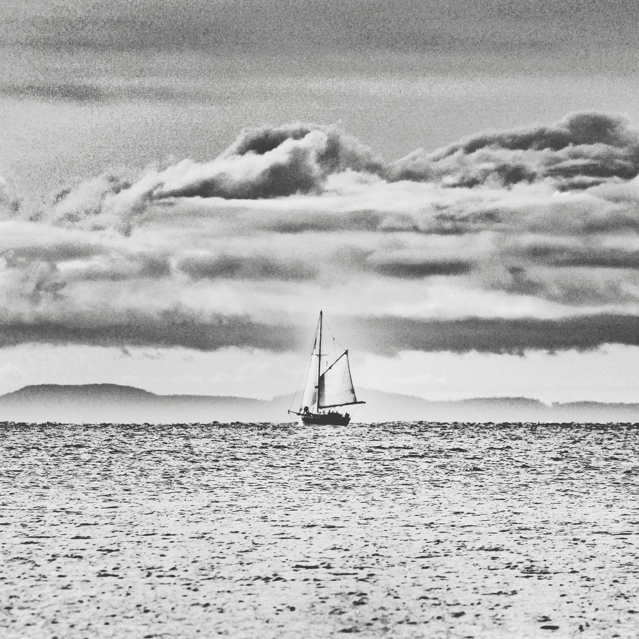 Sailboat Coulds And Sky Sea Black And White