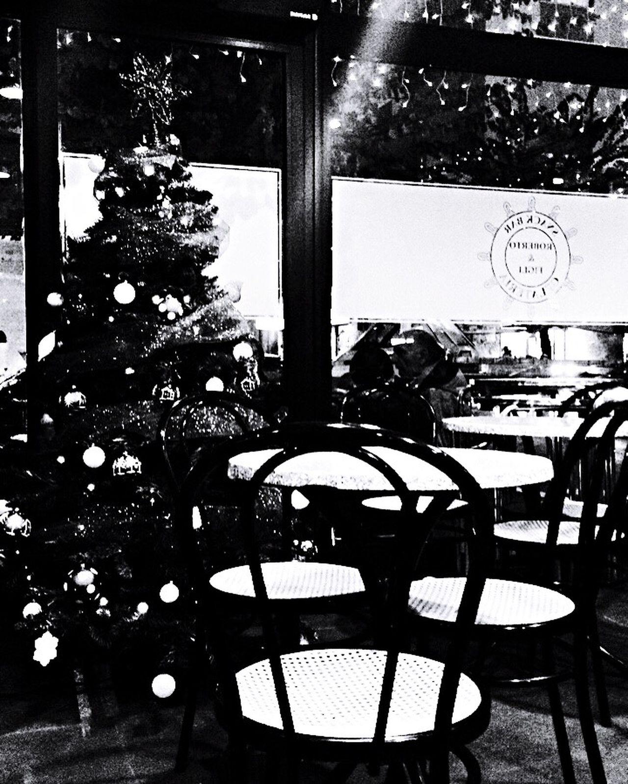 Black And White Street Photography Light And Shadow Rome Italy Lights Chair Empty Table Indoors  No People Nightphotography Night Xmas Decorations Xmas