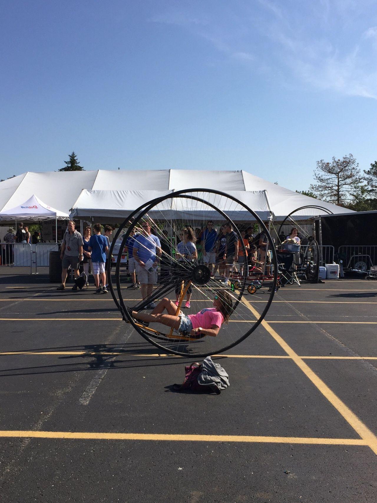 Big wheels Detroit Makersfaire Makers Faire Exercise Wheels Big Wheels Bicycle Bicycle Mods Bicycling Celebrate Your Ride