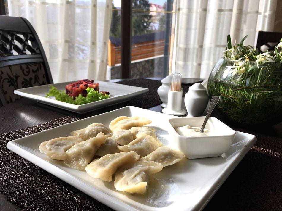 Dumplings Mashrooms Sour Cream Carpathians