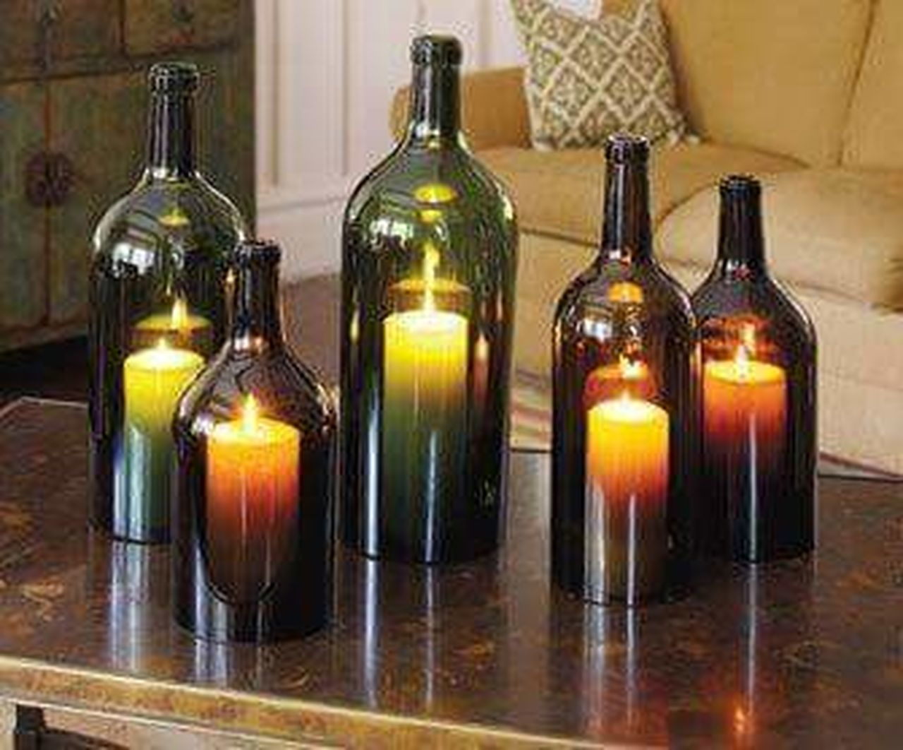 Candles Bottle Glass - Material Wine Bottle Wine Winemaking Choice Winery In A Row Alcohol Variation No People Wine Cellar Close-up Winetasting Indoors  Pinterest Crafts Lovely Candles Candles-collection Wine Bottles Loving Life  Love My Life  Fall Decorations