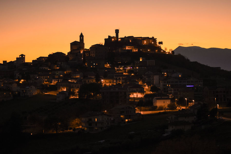 Abruzzo Christmas Countryside Hill Italy Lights Nature Sunset Town
