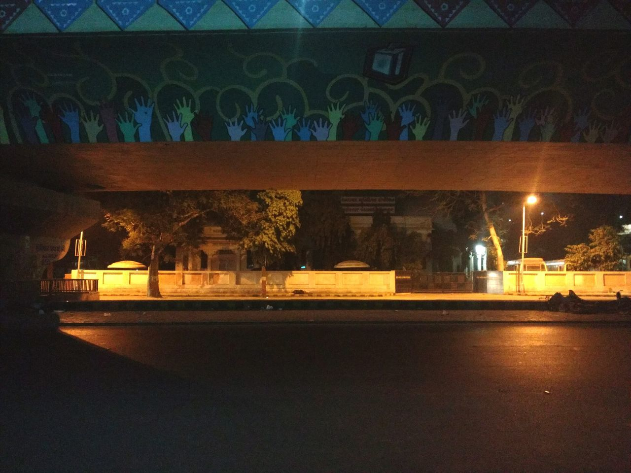 architecture, built structure, illuminated, bridge - man made structure, night, arch, architectural column, indoors, no people, building exterior, nature, tree, city, sky