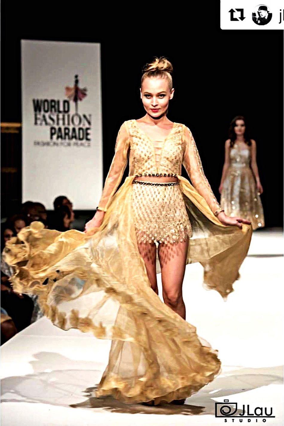 #NY Fashionshow Worldfashionparade #goldshimmer FashionDesigner Nepal Mydesign
