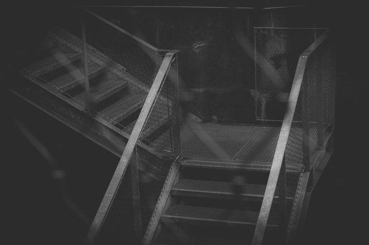 Stahl und Draht: um die Ecke Absence Abstract Black And White Dark Industrial Monochrome Mystery Pattern Railing Staircase Vertigo Steel Steps