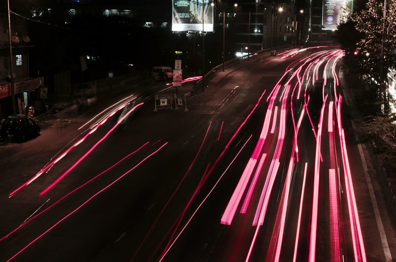 Millennial Pink High Angle View Night Motion Red Light Trail Long Exposure City Illuminated Speed City Life Traffic Outdoors No People Architecture
