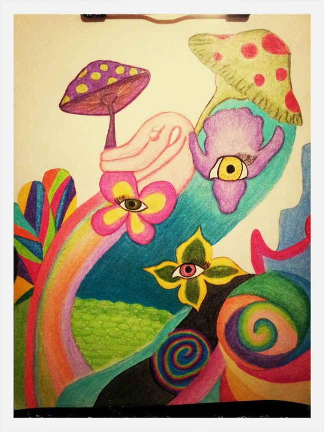 My psychedelic drawing Psychedelic Drawing My Artwork Colored Pencil Flowers