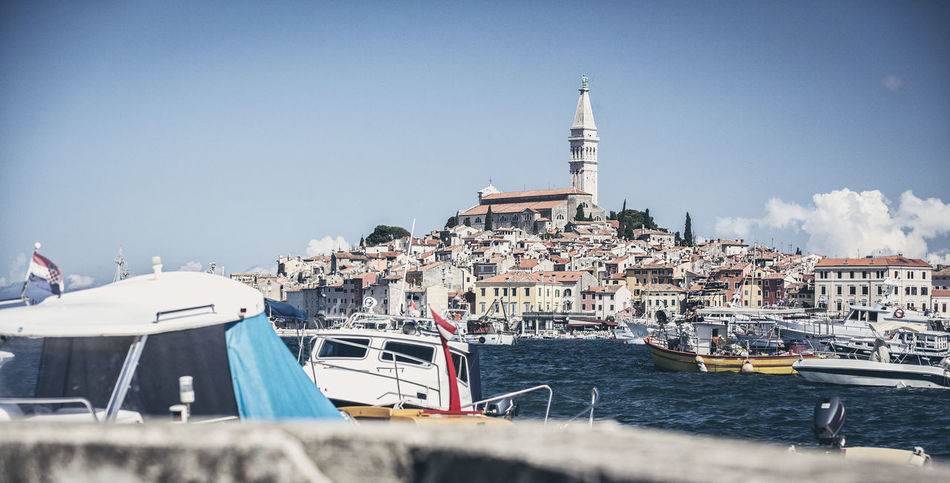 Croatia, Istria, Rovinj, view from old port Adria Boat Church Croatia Euphemia Harbor Harbour Historic Istria Istrien Mediterranean  Mediterranean Sea Nautical Vessel No People Old Porec Port Pula Sail Sea Sightseeing Summer Unfiltered Vintage Water