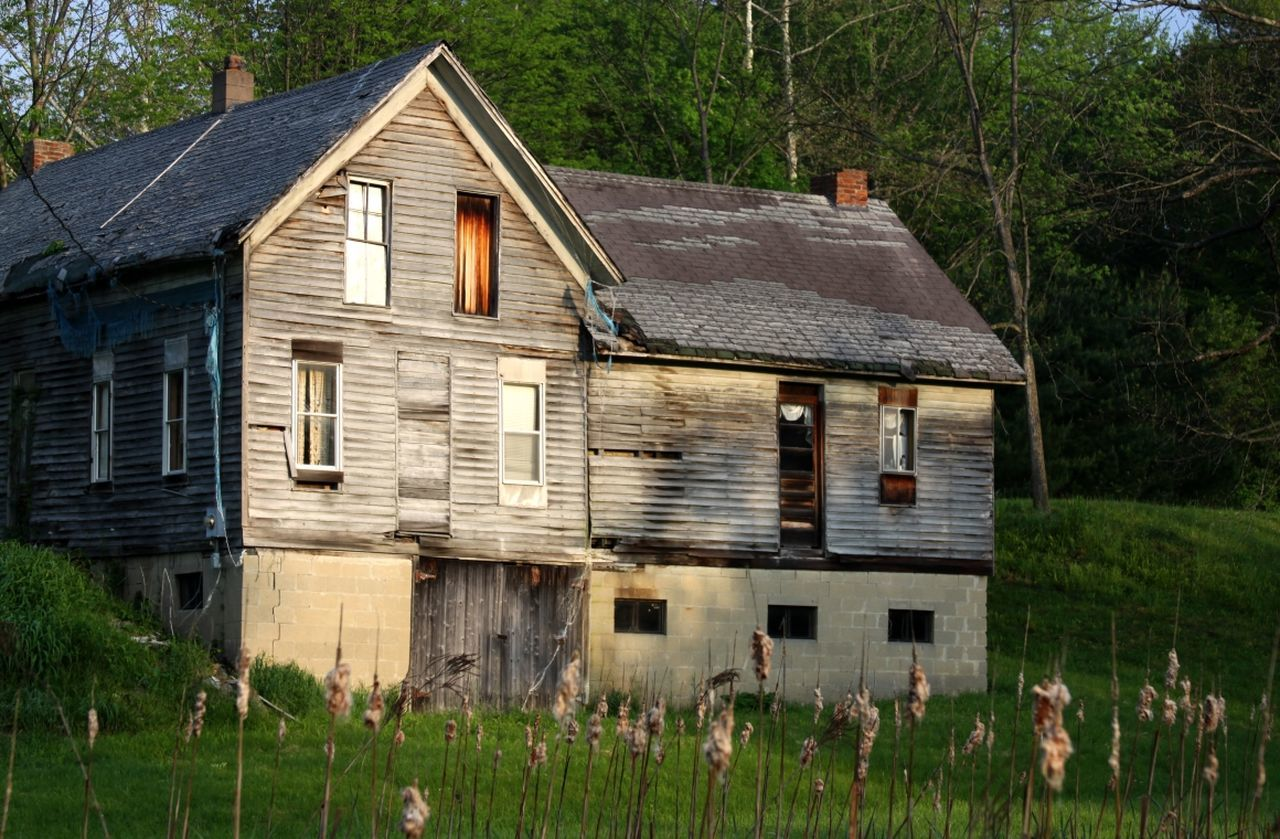 building exterior, house, built structure, architecture, residential building, outdoors, tree, grass, wood - material, no people, day, roof, nature, sky