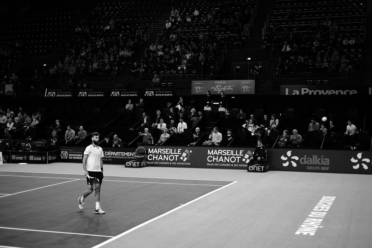Benoit Paire Sport Competition Sportsman Men Athlete Stadium Crowd Adult Match - Sport Tennis 🎾 Fujifilm_xseries Blackandwhite Black And White Monochrome Fujifilm X-E2