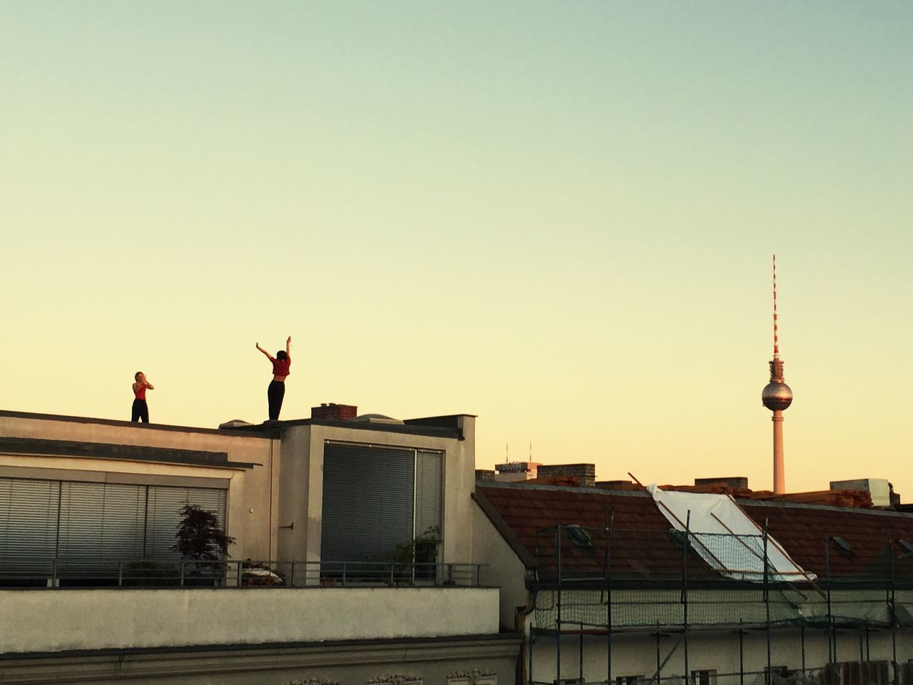 Architecture Building Exterior Clear Sky Copy Space Real People Shooting Model Fernsehturm Skyline Sky Silhouette Young Women Young Adult Posing Rooftop Models Modeling