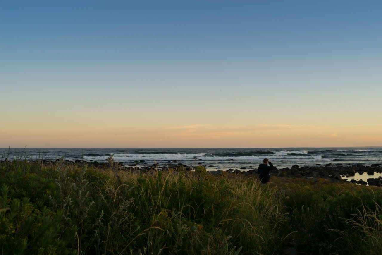 After sunset Beach Beauty In Nature Clear Sky Grass Horizon Over Water Landscape Nature Nevlungstranda Norway One Person Outdoors Saltstein Scenics Sea Silhouette Sky Sunset Tranquil Scene Tranquility Water Waves Waves, Ocean, Nature EyeEm Selects