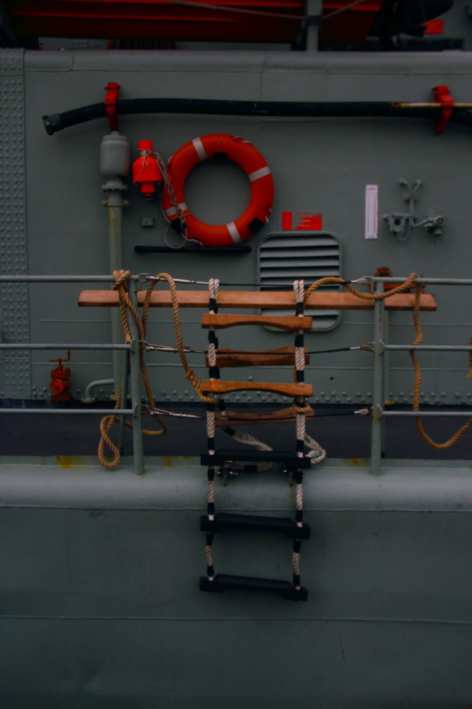 Sometimes we´re coming up short... Contrasts Of Beauty Fregate Harbor View Life Belt Metal Industry No People Orange Color Outdoors Protection Rope Ladder Safety Warship Is Ready Warship Site Focus On Background