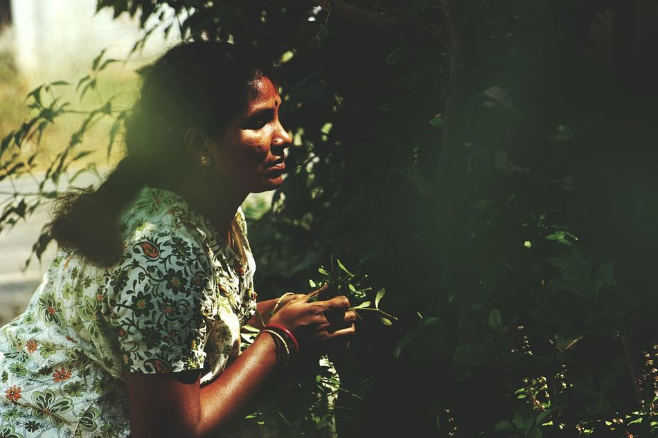 One Person Young Adult Young Women Side View Lifestyles Plant One Woman Only Real People Sitting Only Women Leisure Activity Indoors  Adults Only One Young Woman Only Day Adult People Outdoors Sony Alpha 68 Justgoshoot Green Color Sun Light Through Trees Greeny