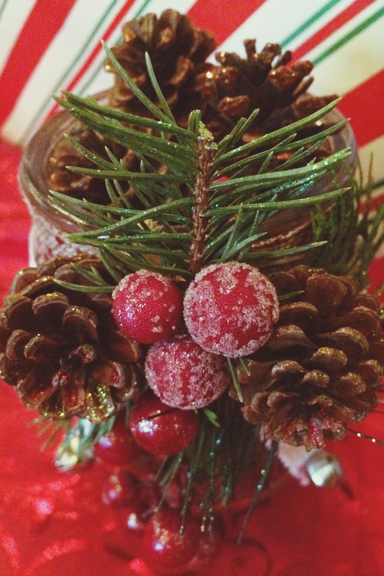 Pinecone Decoration Jar Christmas Decorations Winter Mason Jar Candle Jar The Culture Of The Holidays Cheer Handmade For You Handmade Object Pine Cones And Cherries Christmas Time