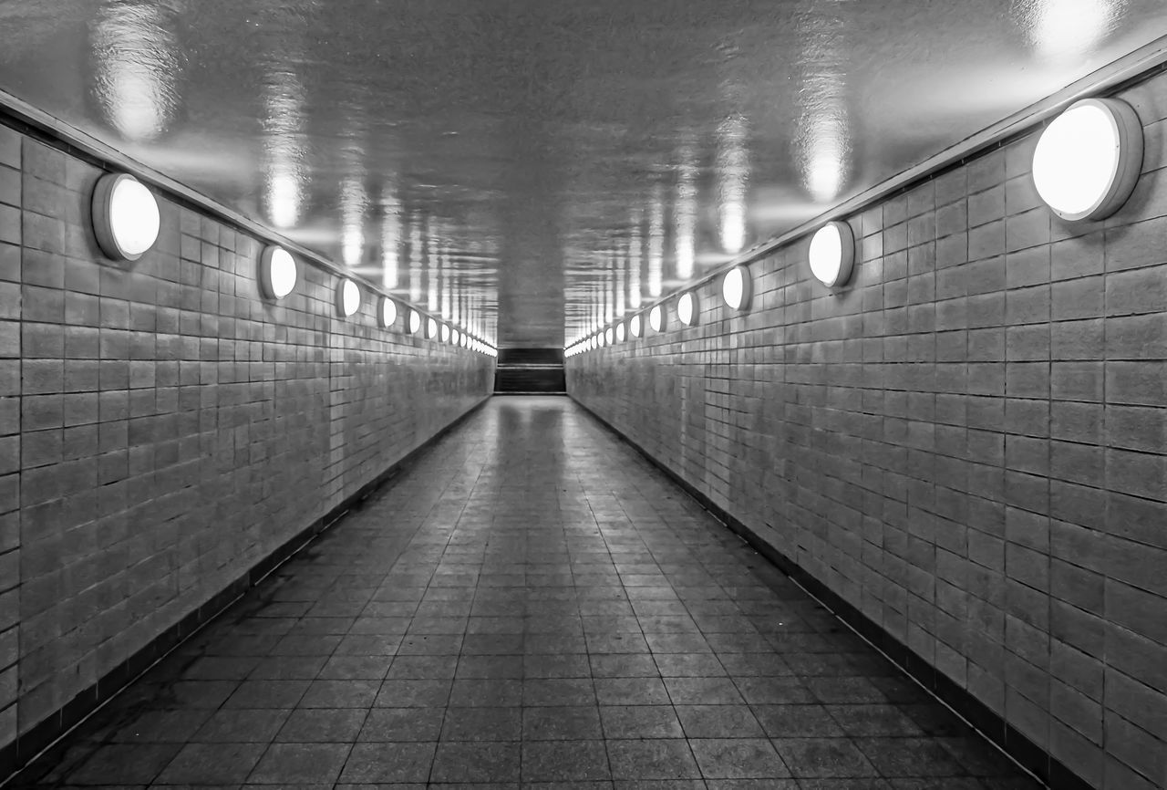 Architecture Ceiling Light  Day Electric Light Fußgängertunnel Illuminated Indoors  Lighting Equipment No People No People, Pedestrian Tunnel Pedestrian Walkway Subway The Way Forward Tiled Wall Tunnel Underpass
