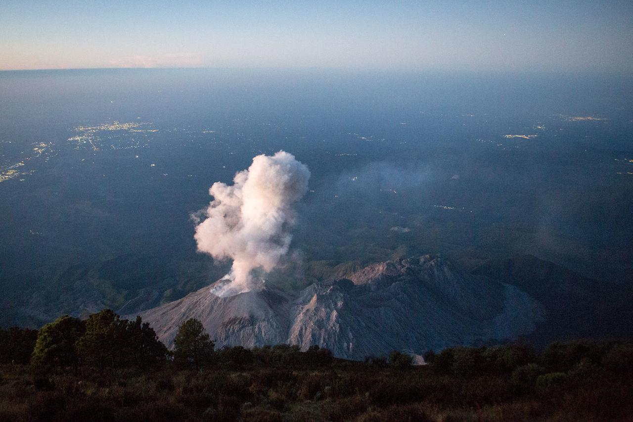 Santiaguito volcano erupting at sunrise. Beauty In Nature Erupting Eruption Geology Lightning Mountain Nature Night No People Outdoors Physical Geography Power In Nature Santiaguito Volcano Scenics Sky Sunrise
