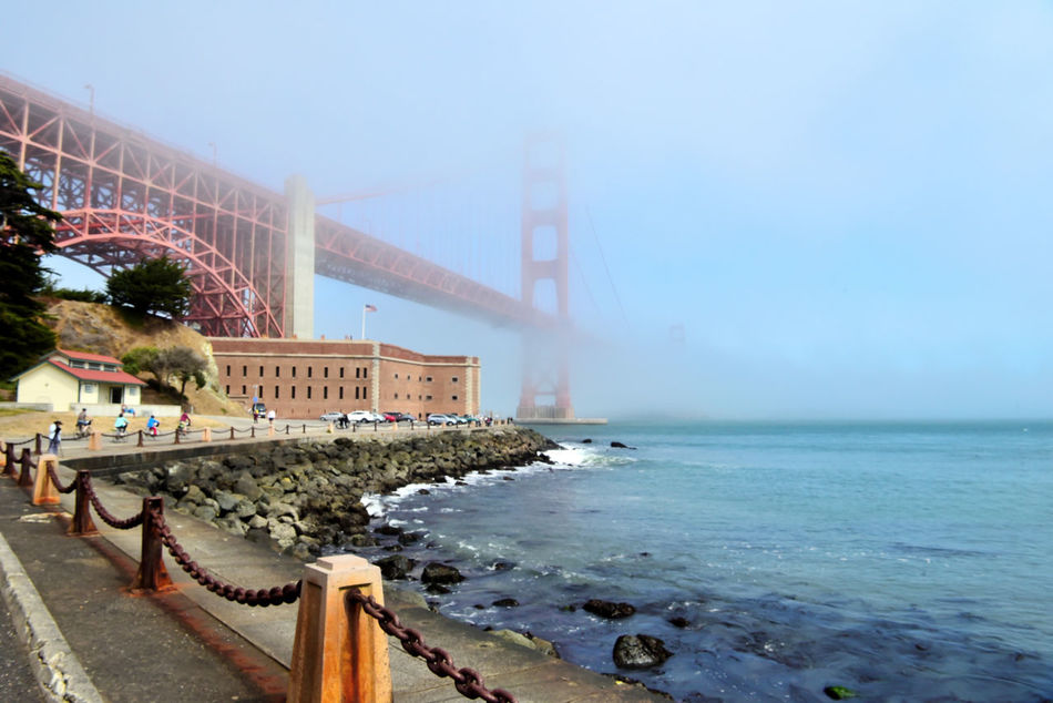 Golden Gate Bridge @ Fort Point 13 San Francisco Bay Golden Gate Bridge 1937 Fort Point 1861 Seacoast Fortification Fog Diminishing Perspective Vanishing Point Bridge Span Bridge Towers Bridge Arch Bridge Architecture Architectural Detail Fort Masonry Shoreline Waterfront Seaside Pacific Coast Chain Barrier Water Seascape Oceanfront Seaview