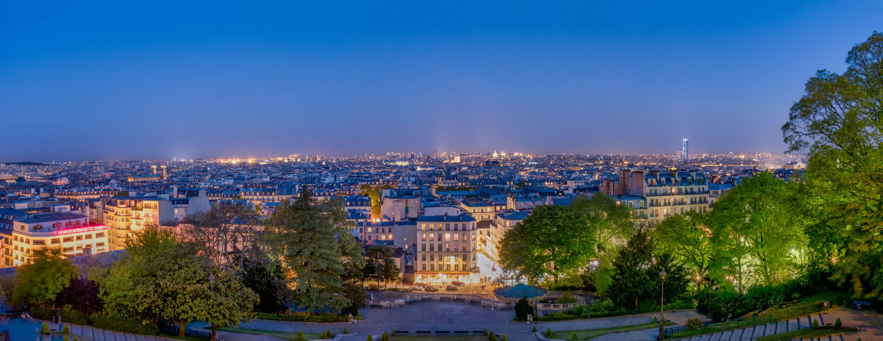 Aerial View Architecture Blue Building Exterior City Citylights Cityscape Copy Space Famous Place Horizon Over Land Illuminated Montmartre Night Nightlife No People Outdoors Panorama Panoramic Sacre Coeur Sky Sunset Tourism Travel Destinations Tree View From Above