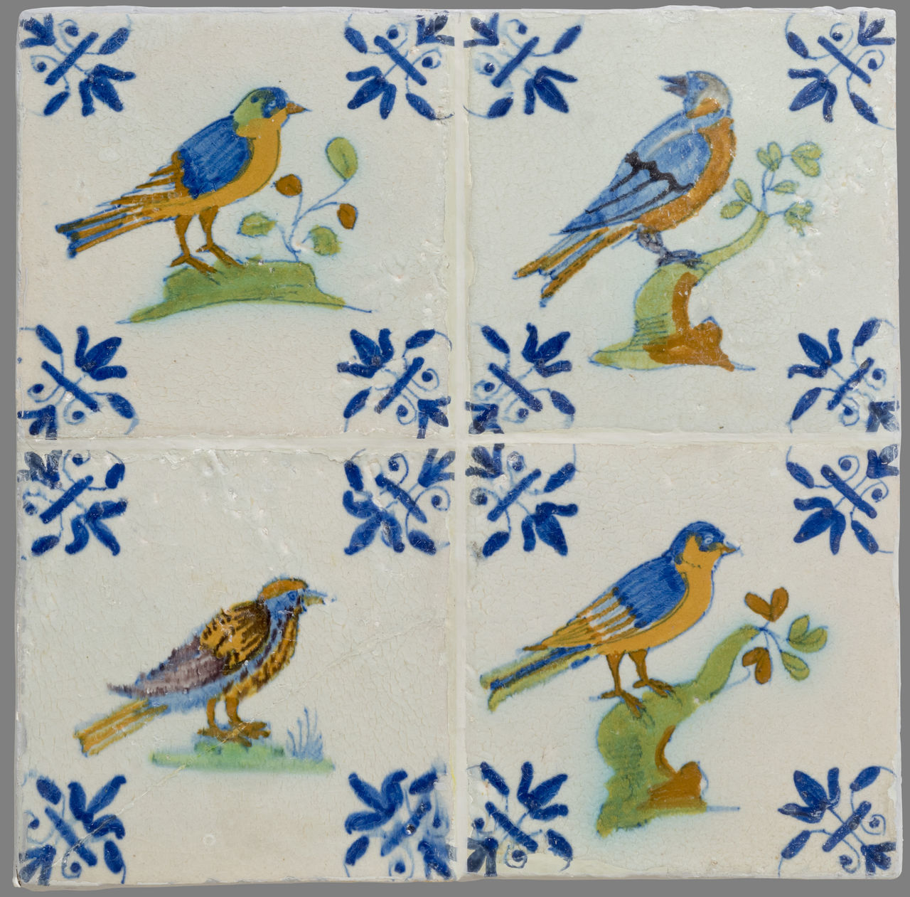 16th Century 17th Century 18th Century Animal Representation Animal Themes Art And Craft Bird Blue Ceramics Close-up Day Floral Pattern Indoors  Netherlands No People Tile