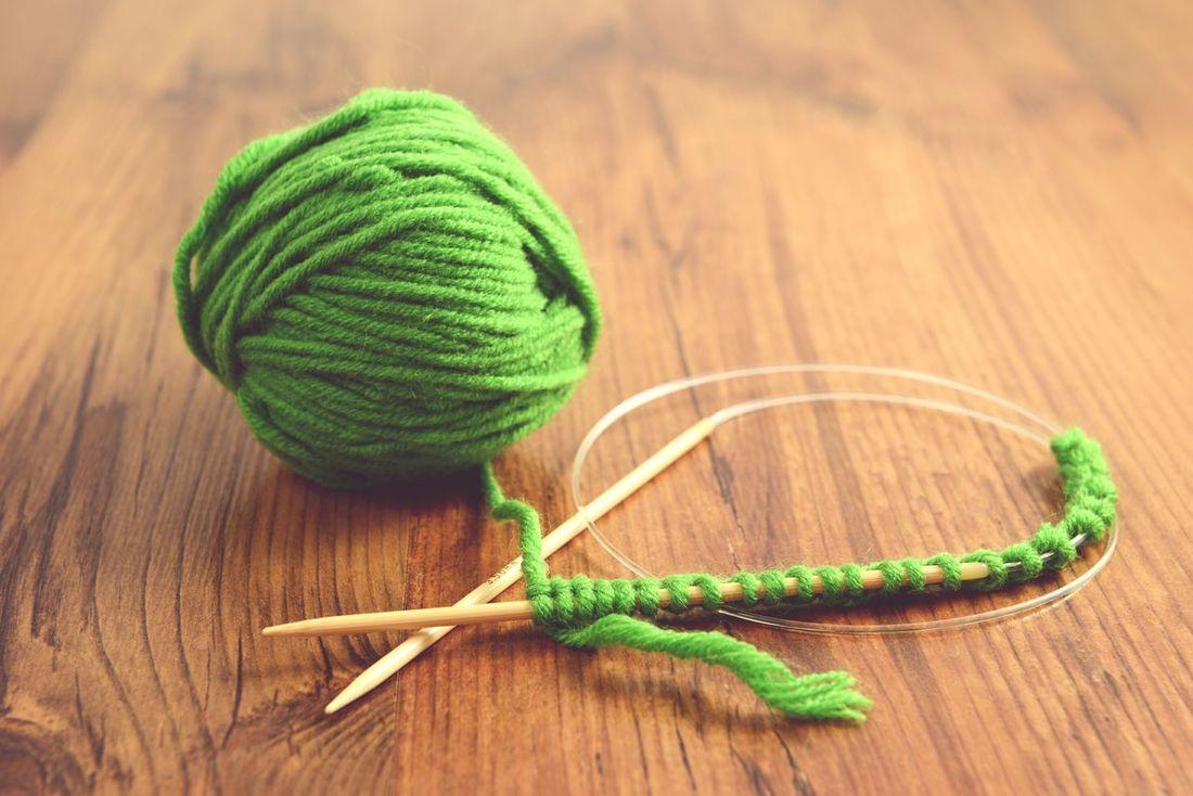 green wool and knitting needle Knitting Project Knitted  Wooly Knitting Needle Knitting Wool Knitt Wool Handcrafted Knitting Wear Handmade Crafts Handmade Knitting Wool Balls