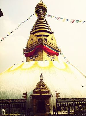 Traveling at Swayambhunath by Elizabeth Evans