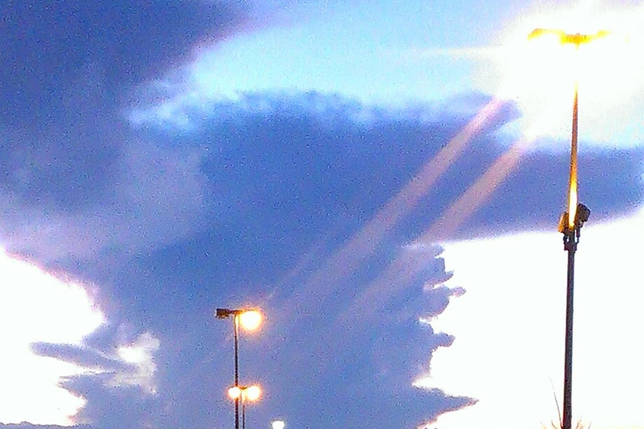 sky, low angle view, cloud - sky, outdoors, no people, illuminated, street light, day, nature