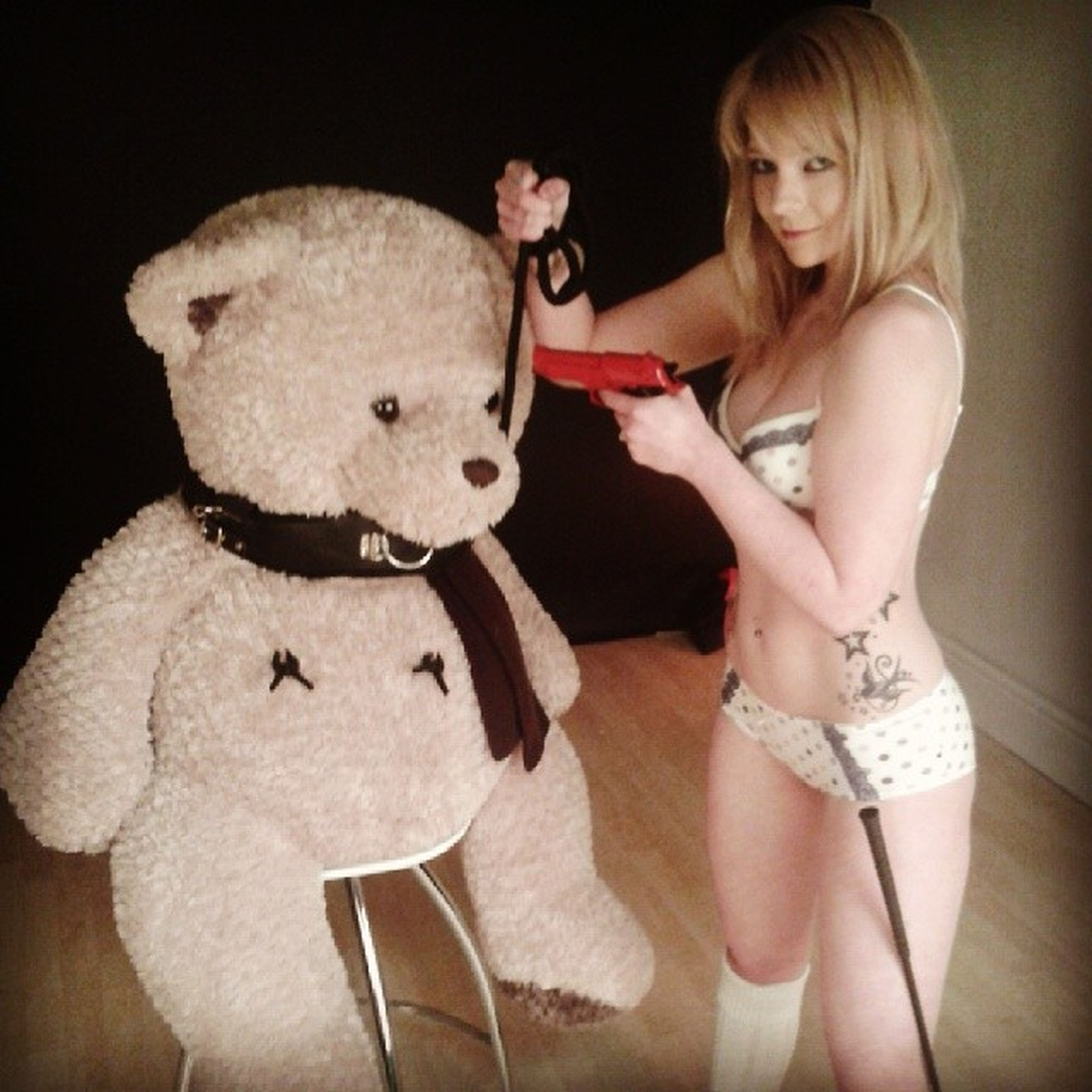 The studio stays or the teddy gets it! Outtake Savethestudio Photoshoot Blonde model