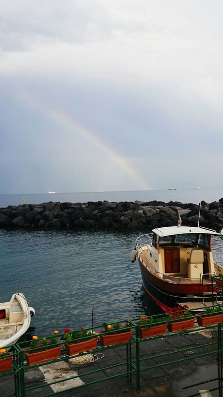 A Napoli. Mergellina. Naples Italy Love Raimbow Love Sunset Sea Beautiful Sky Smallboat