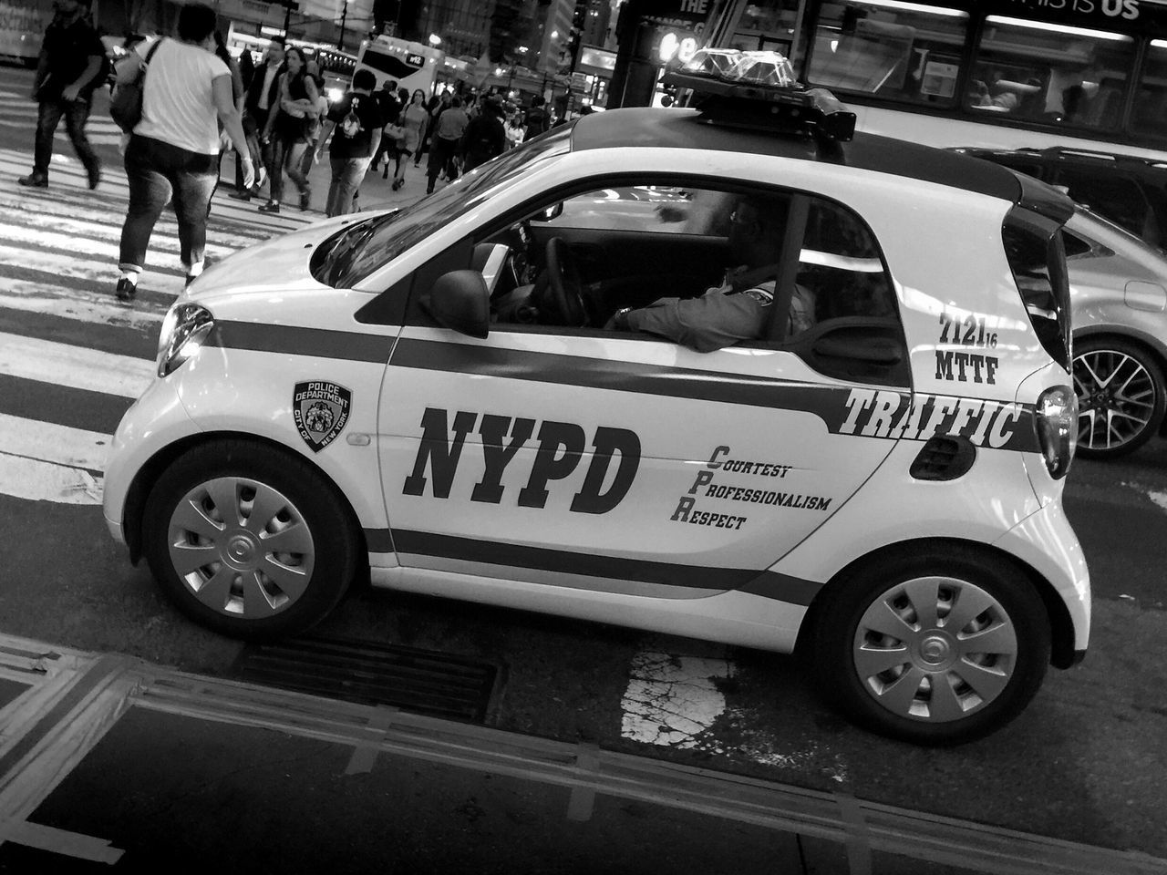 Serve with pride... Police Car NYPD Manhattan Traffic Police  Tiny Car Black And White Bnw City Life