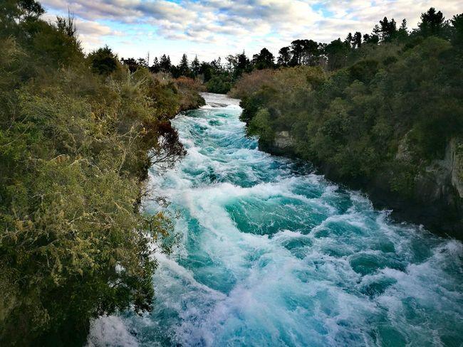 Flowing Waterfall River Rushing Water Huka Falls, NZ